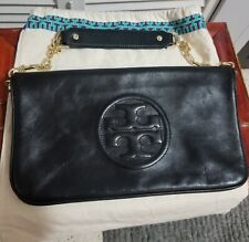 Tory Burch Bombe Reva Black Chain Leather Shoulder Bag Clutch