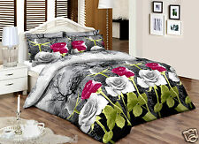 Purple Grey Roses Size King 100% Cotton Percale Quality Printed Duvet Cover sets