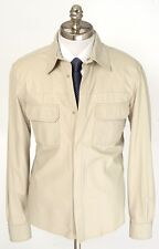 New BRIONI Cream Leather Unconstructed Patch Pocket Jacket Coat 50 M L NWT!