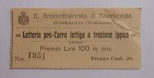24) Lotteria pro-Carro Lettiga a Trazione Ippica Ponsacco Premio Lire 100 in oro