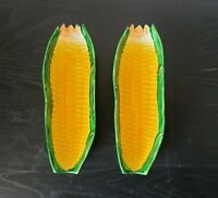 "Two Vintage 9"" Pottery Corn on the Cob Shaped Plates"