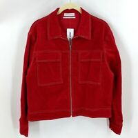 Urban Outfitters Corduroy Zip Up Jacket Size Small Womens Red Valentines Trucker