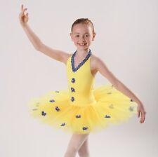 Yellow Spandex High Shine Lycra Girls Strappy Leotard Tutu Ballet Dance Age 2//8