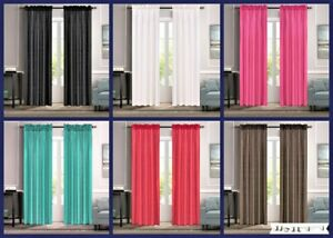 2PC MR2 SOLID SILK SEMI SHEER ROD POCKET WINDOW CURTAIN PANEL LIGHT FILTERING
