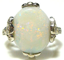 DESIGNER 14K WHITE GOLD 3.22CT OPAL DIAMOND CATHEDRAL COCKTAIL RING SIZE 7