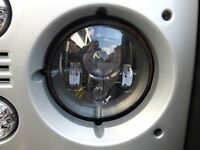 """Landrover Defender 7"""" LED E Approved Headlights x 2 Puma Td4 Td5 90 110 Black"""