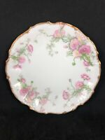 ELITE WORKS LIMOGES FRANCE Hand Painted PINK Flowers PLATE w/ GOLD BORDER 14C
