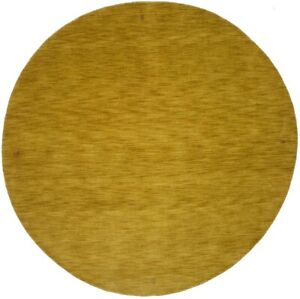Contemporary Modern Solid Gold 6X6 Hand-Loomed Oriental Round Rug Decor Carpet