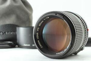 [MINT w/Hood & Case] Canon New FD NFD 85mm f1.8 Portrait Prime Lens From JAPAN