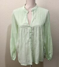 Soft Surroundings Green Pleated Pintuck Cotton Button Down Tunic Blouse Size M
