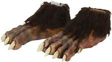 ADULT WEREWOLF MONSTER ANIMAL LATEX FEET COVERS W/ FUR COSTUME ACCESSORY TB25361
