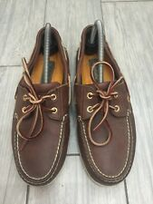 MENS GENUINE BROWN LEATHER TIMBERLAND BOAT DECK SHOES, UK 8