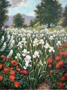 """BRIAN DAVIS """"Irises in A Meadow"""" HAND SIGNED Lim. Ed. 34"""" x 44"""" in US Artist"""