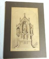 Antique Art Architectual Ink Drawing 1859 Church Elevation or Altar Signed
