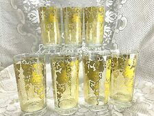 Vintage Set of 7 Drinking Glasses Yellow Weaved Straw and Scrolls