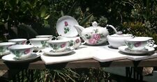 Willow China, Pink Rose 10 Settings Tea Set, Teapot, Sugar, Creamer, & C/S