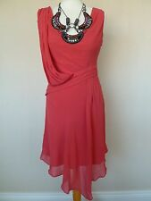 Karen Millen Coral Chiffon Silk Grecian Draped Dress Size 10 Beaded Necklace VGC
