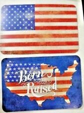 Born and Raised USA Flag Rustic Placemats 2Pc Reversible Plastic Red White Blue