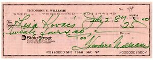 TED WILLIAMS SIGNED PERSONAL CHECK RED SOX HOF HUNT/CLAUDIA COA GREEN INK SIG!