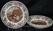 "Queen's Majestic Beauty * 4 SOUP BOWLS * Quintesential Game, Turkey , 8"",  New"