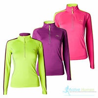 More Mile Ladies Half Zip High Vis Long Sleeve Running Top Womens T Shirt