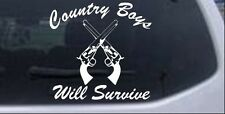 Country Boys Will Survive Car Truck Window Laptop Decal Sticker White 8X7.6