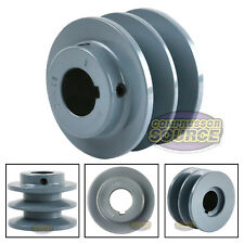 "3"" Cast Iron 1"" Shaft Pulley Sheave Single 2 Groove V Style B Belt 5L New"