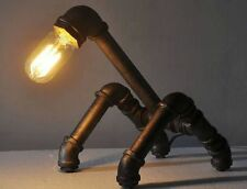 Industrial quirky heavy weight metal pipe desk light