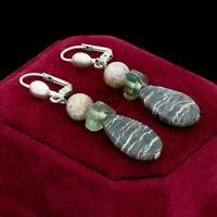 Vintage Designer 925 Sterling Silver Jasper Glass Beaded Dangle Earrings 4.9g