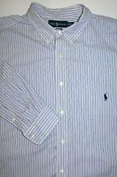 Mens 2XLT Ralph Lauren Classic Fit Tall LS Blue White Stripe Button Front Shirt