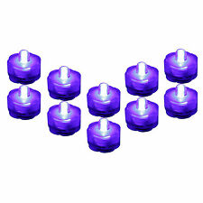10 Pack PURPLE Submersible Waterproof Underwater Wedding Battery LED Tea Light