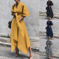 Damen Kleid Party Langarm Kleider V-Ausschnitt Midikleid Midikleid Partykleid
