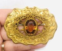 Beautiful Ornate Victorian Sash Brooch Pin Gilt Topaz Glass Vintage Jewelry