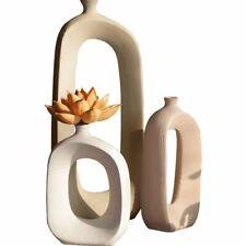 Nordic Ceramic Stem Flower Hollow Vase Floral Ornaments Home Living Room Decor