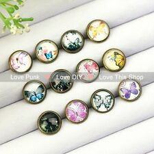 12pairs10mm Fashion Earrings Stud Earrings Glass cabochon Earrings the butterfly