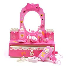Make Up Set Bunny Rabbit Toy Dressing Table & Mirror Pretend Play Wooden Toys