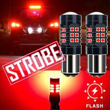 2x1157 RED LED Strobe Flashing Blinking Bulb Car Truck Brake Stop light For Fiat