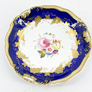 """Antique HAND PAINTED NIPPON Bread Plate COBALT BLUE Pink Roses 6"""" 1933"""