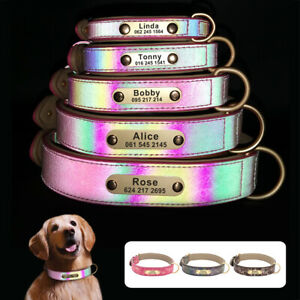 Personalised Dog Collar Reflective Leather Padded Custom ID Name Walking Collar