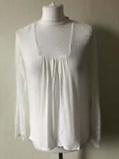 Mademoiselle La Redoute White Long Sleeved Bouse Size 6 Lace Insert BNWT Office