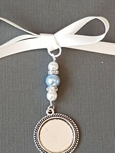 Wedding Bouquet Charm Round Silver Locket 3 pale blue and ivory pearls Gift Bag