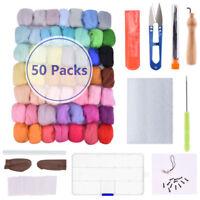 DIY Needles Felting Starter Kit Handcraft Mat Tools +50 Colors Wool Fibre Roving
