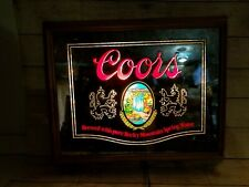 Vintage Coors Beer Bar Sign Glass Mirror Wall Hanging Cave Shed