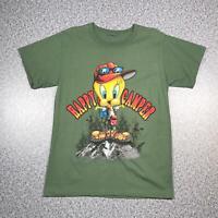 90s Vintage LOONEY TUNES TWEETY HAPPY CAMPER Mens T Shirt Large | Single Stitch