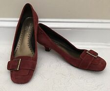 Anne Klein iFlex Womens Red Suede Pumps Shoes Kitten Heel Square Toe Buckle Sz 8