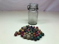 Antique Primitive Vintage Assortment Of Clay Colorful Marbles In Glass Jar