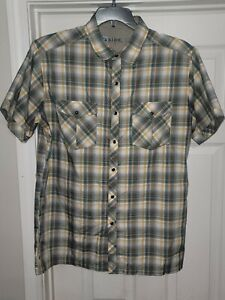 Kuhl Eluxur Yellow plaid Men's Medium outdoor shirt snap front