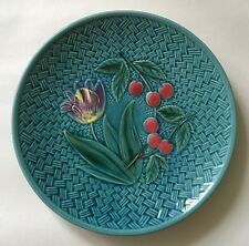 Vintage Majolica Georg Schmider Zell Germany Tulip and Cherries Plate