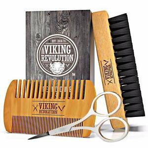 Viking Revolution Beard Comb & Beard Brush Set for Men -w/Velvet Travel Pouch