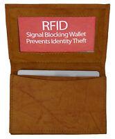 Tan RFID Scan Blocking Men's Leather Wallet 20 Card ID Holder